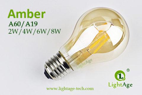 A60-A19 led filament bulb Amber 2W,4W,6W,8W