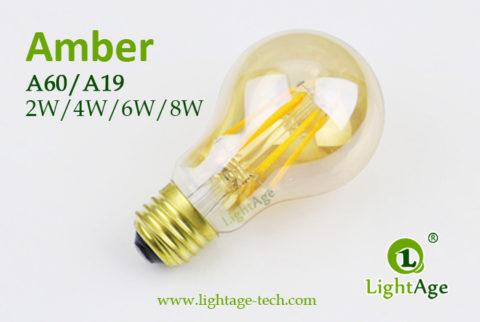 A60-A19 led filament bulb Amber3 2W,4W,6W,8W