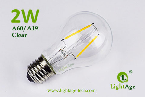 A60-A19 led filament bulb Clear 2W