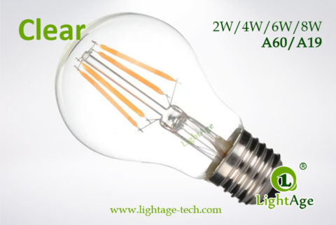 A60-A19 led filament bulb Clear 2W 4W 6W 8W