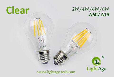 A60-A19 led filament bulb Clear 2W4W6W8W