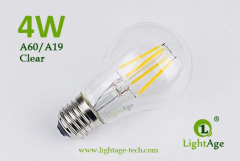 A60-A19 led filament bulb Clear 4W