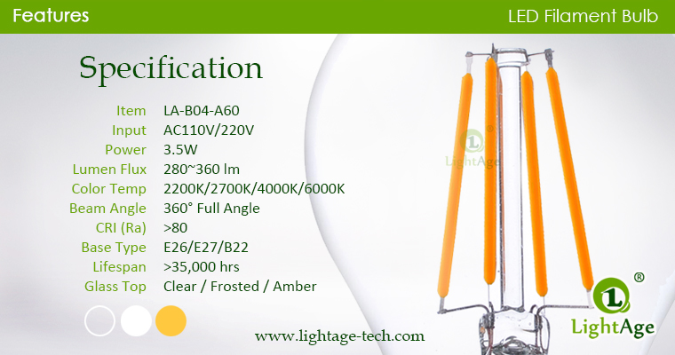 A60-A19 led filament bulb Clear 4W Specification