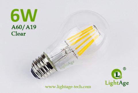A60-A19 led filament bulb Clear 6W