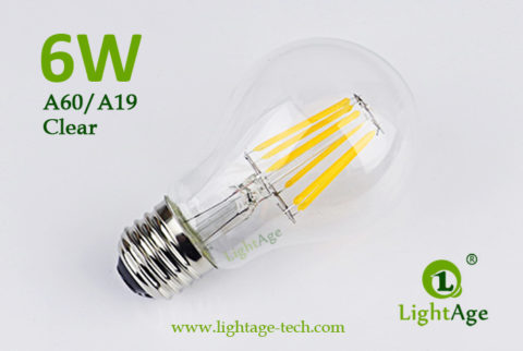 A60-A19 led filament bulb Clear 6W