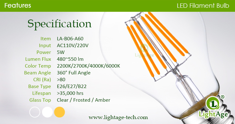 A60-A19 led filament bulb Clear 6W specification