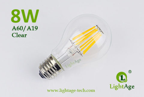 A60-A19 led filament bulb Clear 8W