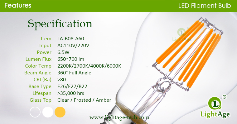 A60-A19 led filament bulb Clear 8W specification