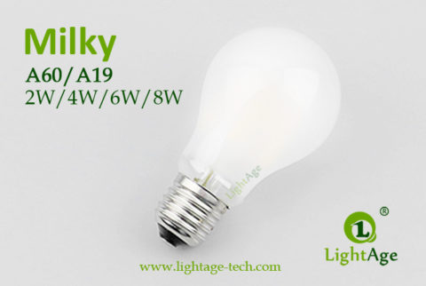 A60-A19 led filament bulb Milky 2W,4W,6W,8W