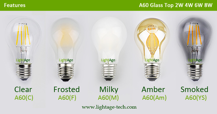 A60 LED filament bulb 2W 4W 6W 8W Glass top colors