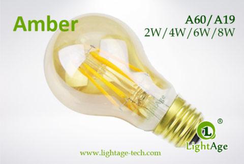 Amber A60-A19 led filament bulb 2W,4W,6W,8W
