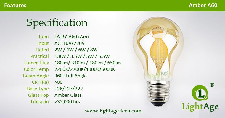 Amber A60 LED filament bulb 2W 4W 6W 8W Specification
