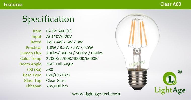 Clear A60 LED filament bulb 2W 4W 6W 8W Specification