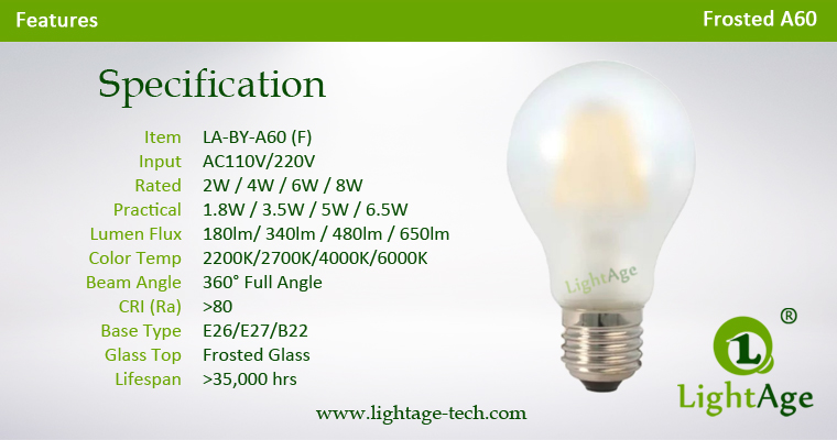 Frosted A60 LED filament bulb 2W 4W 6W 8W Specification