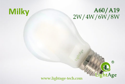 Milky A60-A19 led filament bulb 2W,4W,6W,8W