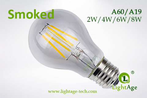 Smoked A60-A19 led filament bulb 2W4W6W8W