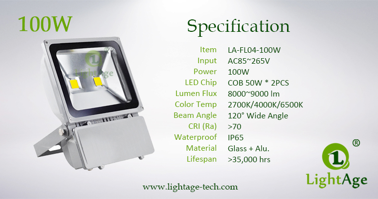 100W COB LED Flood Light Stand Type LA-FL04 Specification