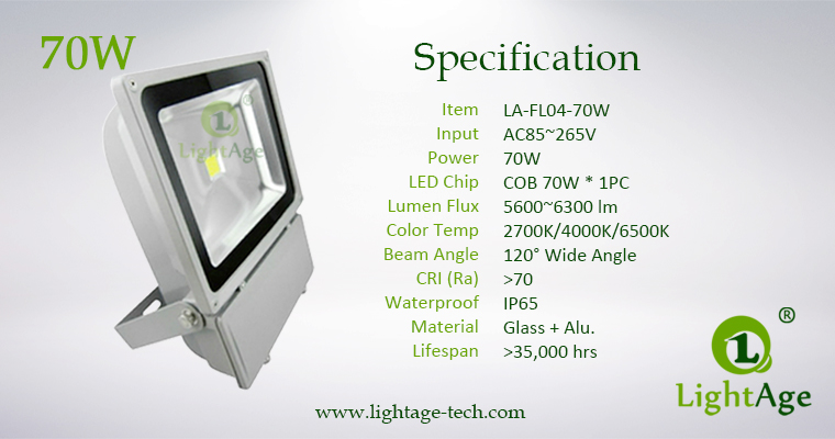70W COB LED Flood Light Stand Type LA-FL04 Specification