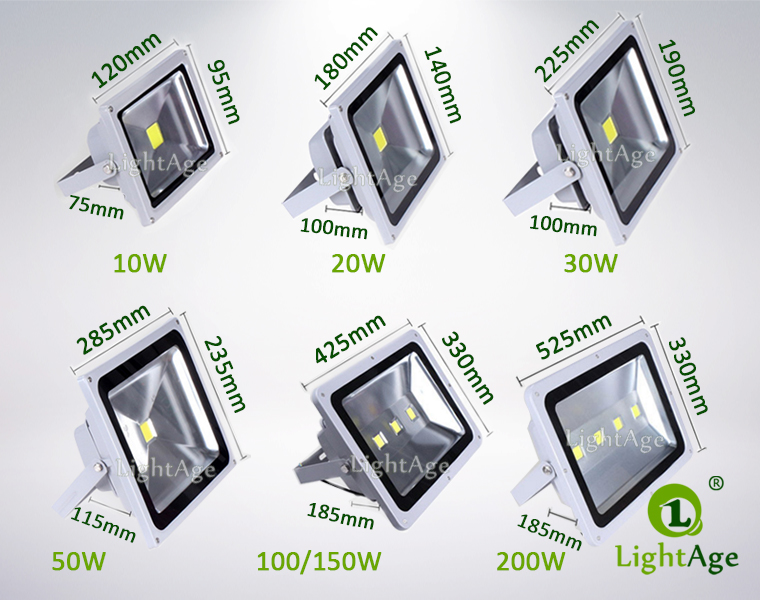 COB LED Flood Light LightAge LA-FL02 Series Dimension