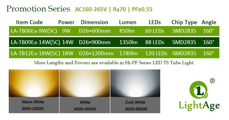 Ea5C-Integrated LED T8 Tube Light Series