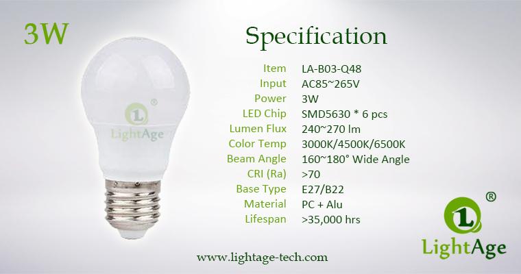 LA-B-Q48 3W White LED Bulb PC with alu
