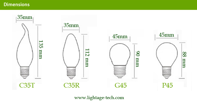 LA-B03-05 3W LED Candle Bulb R,T,G Glass Tops Dimension