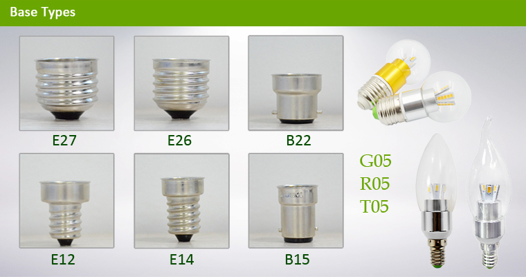 LA-B03-05 3W LED candle bulb R,T,G Top Base Types