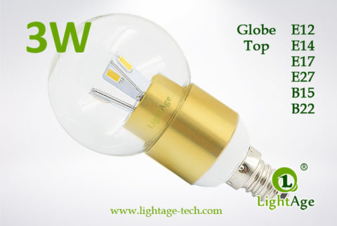 LA-B03-G05 3W LED Bulb Clear Globe golden base