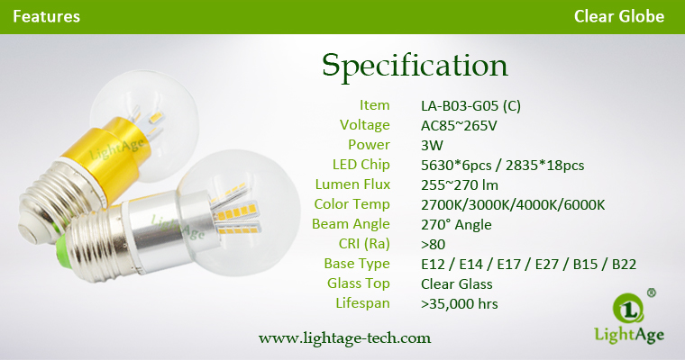 LA-B03-G05 3W LED Bulb Light Clear Globe Specification