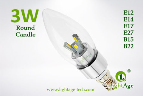 LA-B03-R05 3W LED Candle Light Clear Round Tip