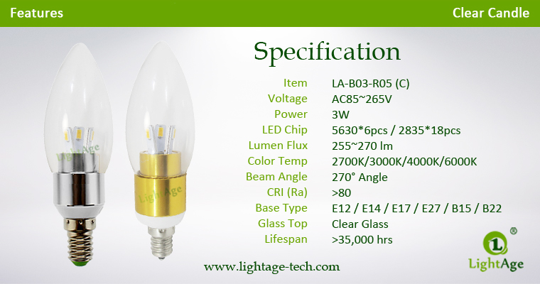 LA-B03-R05 3W LED Candle Light Clear Round Tip Specification