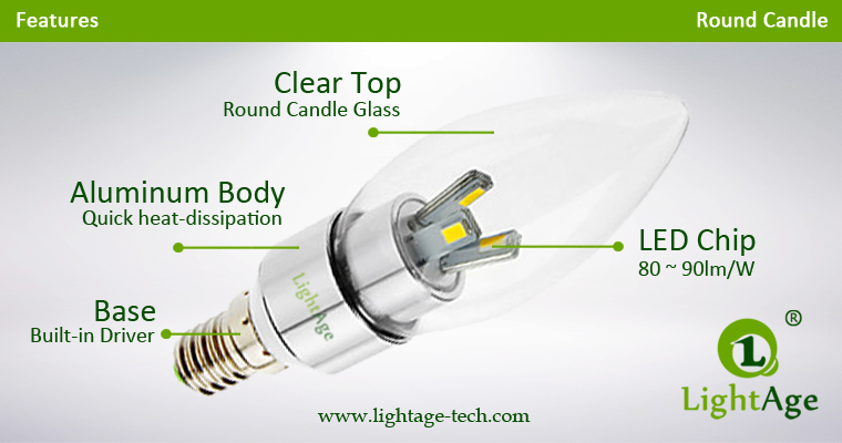 LA-B03-R05 3W LED Candle Light Clear Round Tip Structure