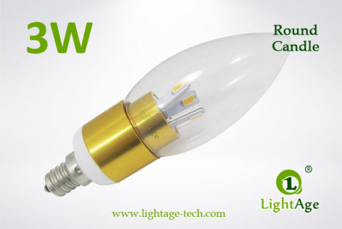 LA-B03-R05 3W LED Candle Light Clear Round Tip5 golden base