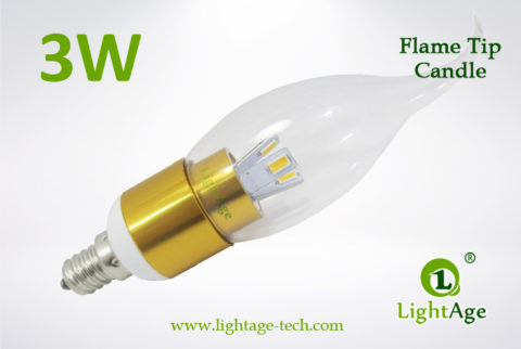 LA-B03-T05 3W LED Candle Light Clear Flame Tip gold base2