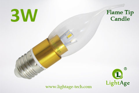 LA-B03-T05 3W LED Candle Light Clear Flame Tip gold base3