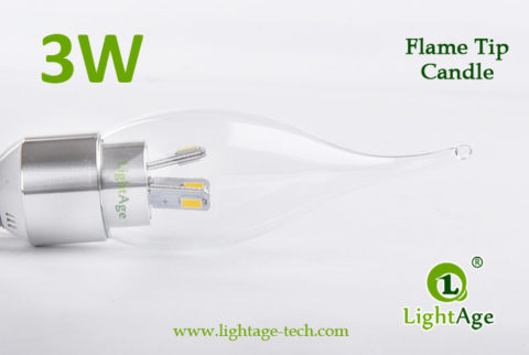 LA-B03T-05 3W LED Candle Light Clear Flame Tip