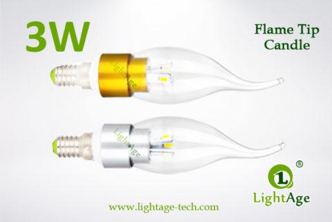 LA-B03T-05 3W LED Candle Light Clear Flame Tip3