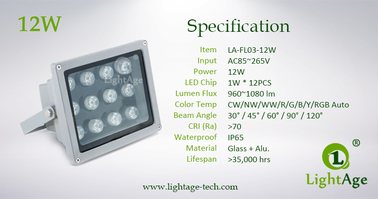 LA-FD03-12W 03LED Flood Light 12W Specification