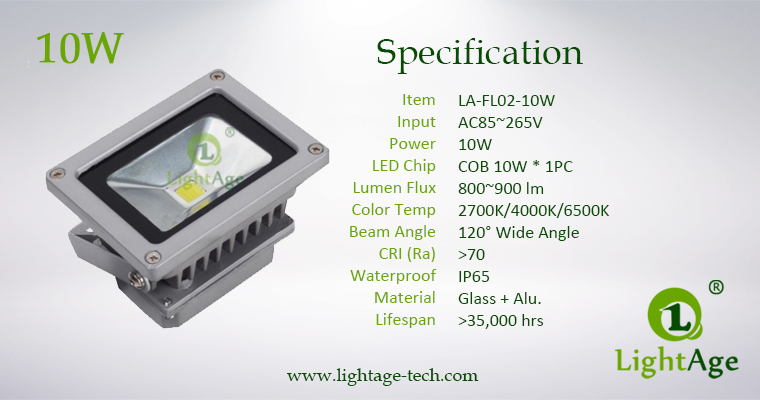 LA-FL02-10W 10W COB LED Flood Light Specification