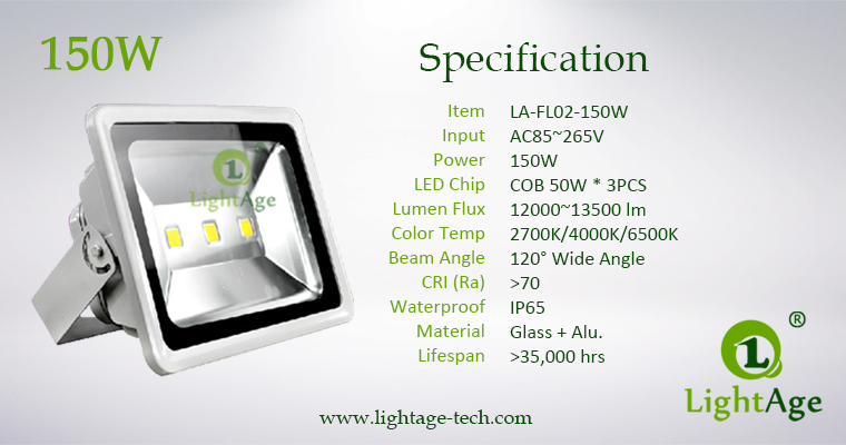 LA-FL02-150W 150W COB LED Flood Light Specification