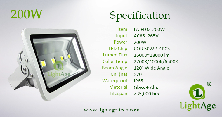 LA-FL02-200W 200W COB LED Flood Light Specification