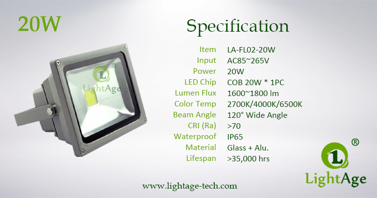 LA-FL02-20W 20W COB LED Flood Light Specification