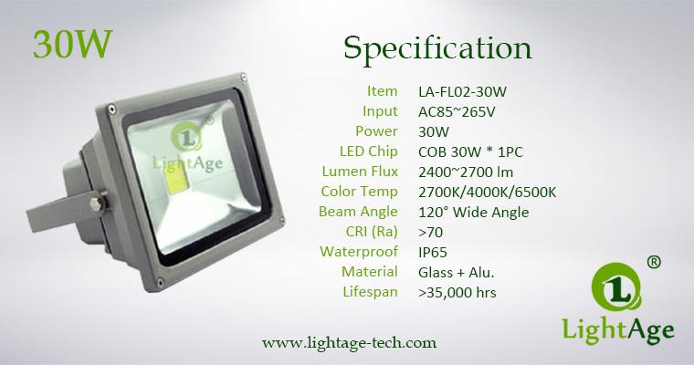 LA-FL02-30W 30W COB LED Flood Light Specification
