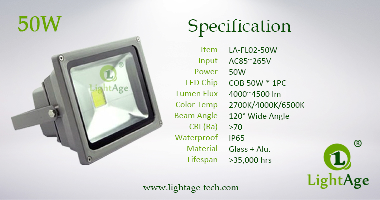 LA-FL02-50W 50W COB LED Flood Light Specification