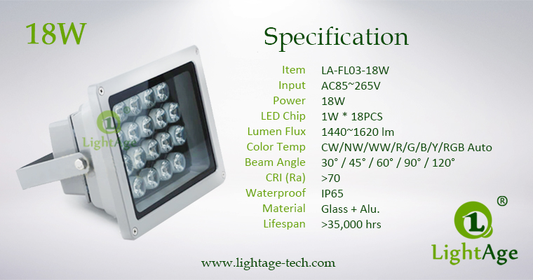 LA-FL03-18W LED Flood Light 18W Specification