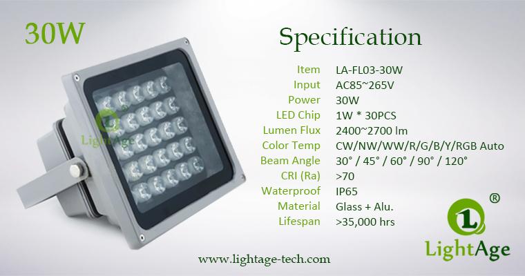 LA-FL03-30W LED Flood Light 30W Specification