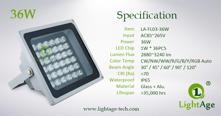 LA-FL03-36W LED Flood Light 36W Specification