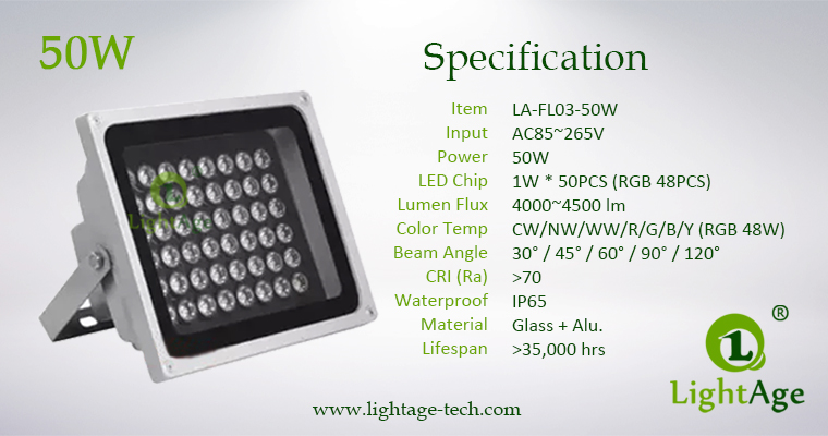 LA-FL03-50W LED Flood Light 50W Specification