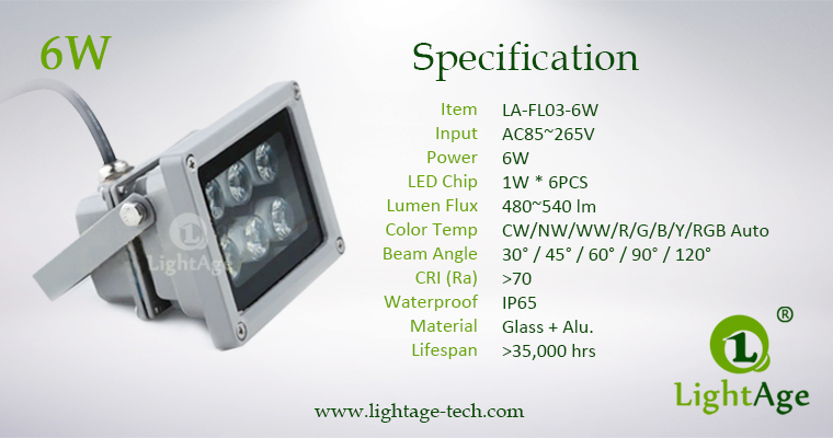 LA-FL03-6W 03 LED Flood Light 6W Specification
