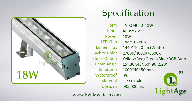 XQ4050 LED Wall Washer 1000mm 18W Specification